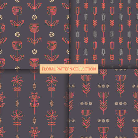 Simple geometric floral seamless pattern collection.