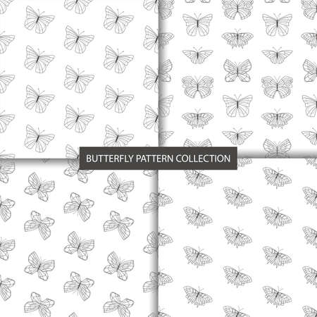 Set of 4 simple seamless patterns in black and white colors with butterflies. 向量圖像