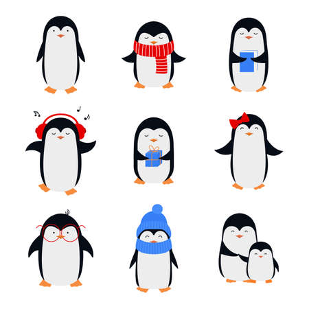 Set of cute cartoon penguins in flat style. 向量圖像