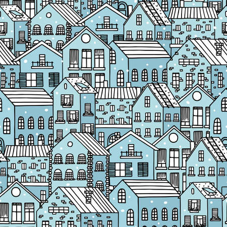 Winter snowy cityscape. Hand drawn winter blue houses seamless pattern. Vector illustration for wrapping, textile, fabric, wall paper, etc.