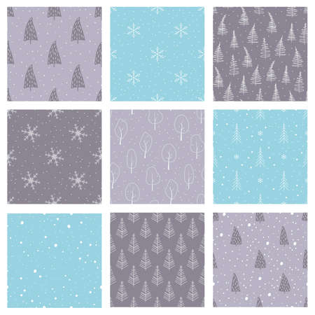 Hand drawn winter pattern collection. Snowing, snowflakeses, spruce trees. 向量圖像