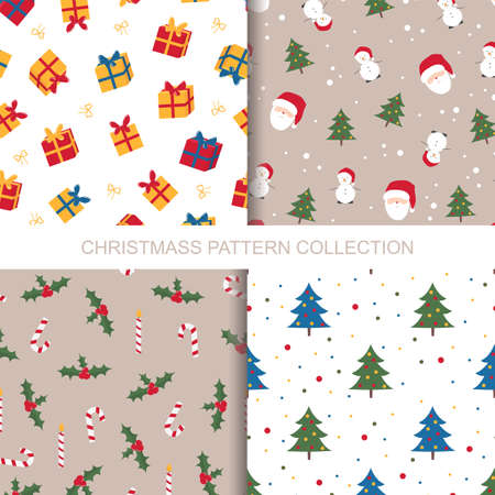 Merry Christmas and Happy New Year seamless pattern collection. 向量圖像