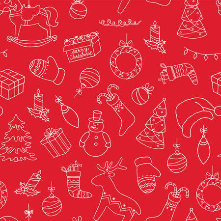 Christmas doodle seamless pattern. Hand drawn white symbols on red background.