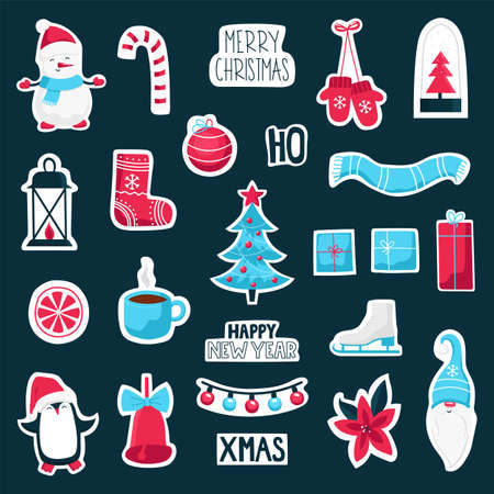 Christmas and New Year cute symbol sticker collection. Vector colorful illustration.