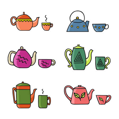 Hand drawn teapot and cup collection. Colorful teapot sets with Cup for your design.