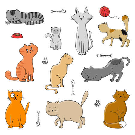 Hand drawn cat collection for your design. Cute pets of different colors in different poses. Vector illustration. 向量圖像