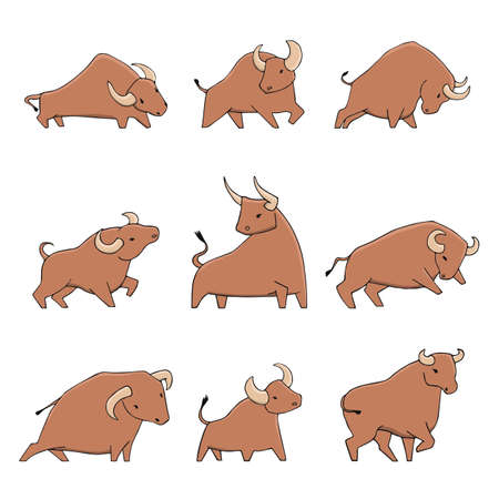 Hand drawn set of bulls in different poses. Cute cartoon ox collection. Vector illustration for your design. 向量圖像