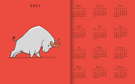 Hand drawn calendar 2021 with white metal ox on red background. Symbol of the 2021. 向量圖像