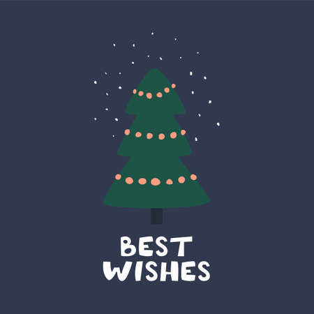 Best wishes congratulation phrase and Christmas tree on a greeting card.