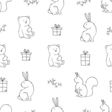 Christmas seamless pattern with cute animals, gift boxes and garlands on white.