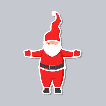 Cartoon Santa Claus sticker. Cute Christmas character.