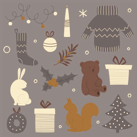 Set of Christmas items. Vector illustration for greeting cards, Christmas invitations.