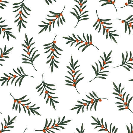 Christmas seamless pattern with twigs and berries on white. Holiday floral background.