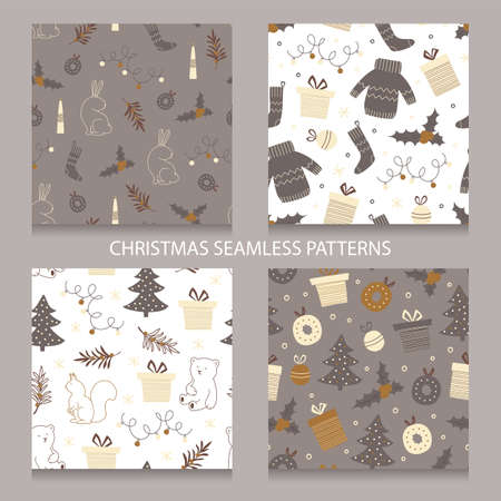 Set of Christmas seamless patterns.