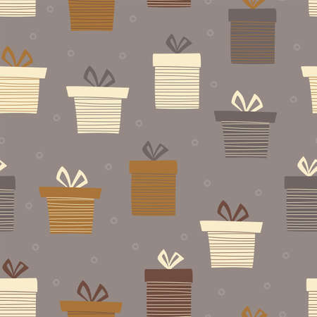 Gift box seamless pattern for Christmas, New year or birthday on brown background.