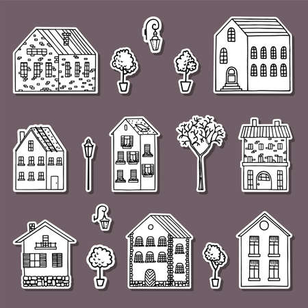 Country house stickers collection. Hand drawn white houses.