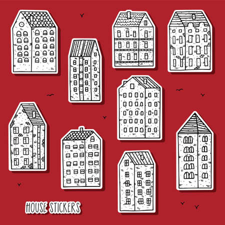 City house stickers collection. Hand drawn black and white houses in doodle style.