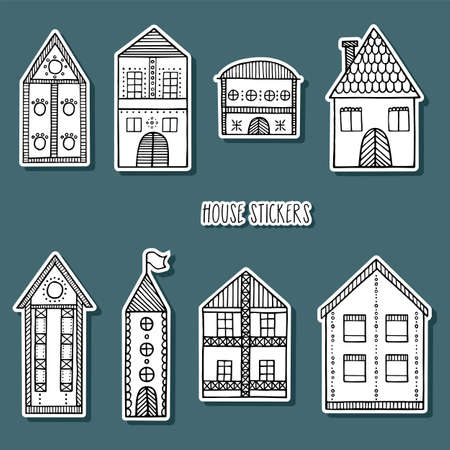 Vintage home stickers collection. Hand drawn black and white houses.