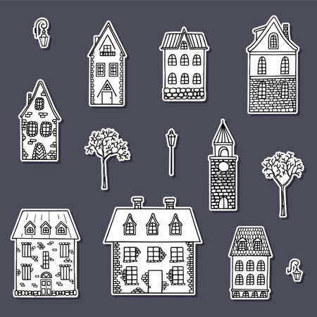 Country house stickers collection. Hand drawn cute houses.