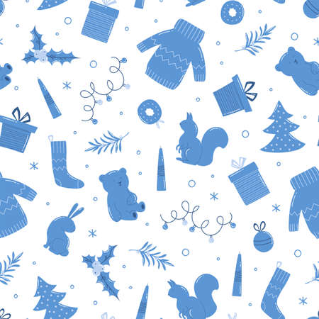 New Year and Christmas seamless pattern. Cute winter holiday background. 向量圖像