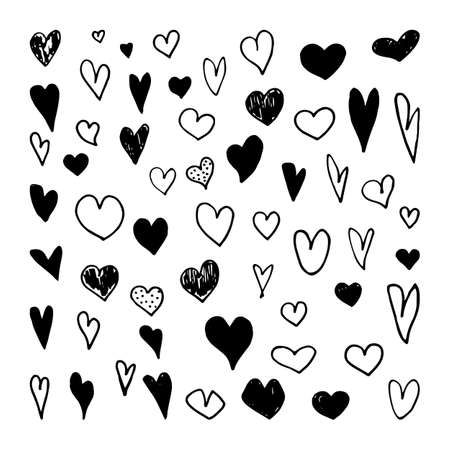 Hand drawn heart collection. Vector doodle hearts.