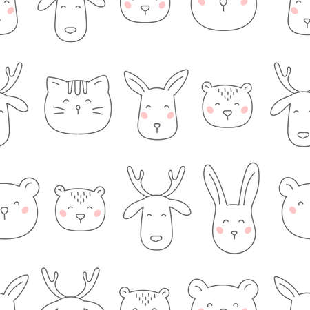 Hand drawn forest animals seamless pattern on white background.