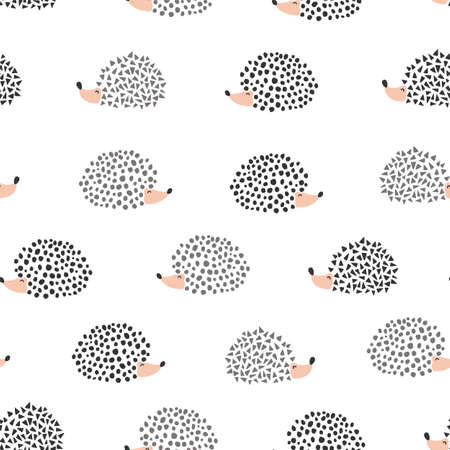 Cute hedgehog seamless pattern. Cute cartoon background. Kids design for fabric and decor.