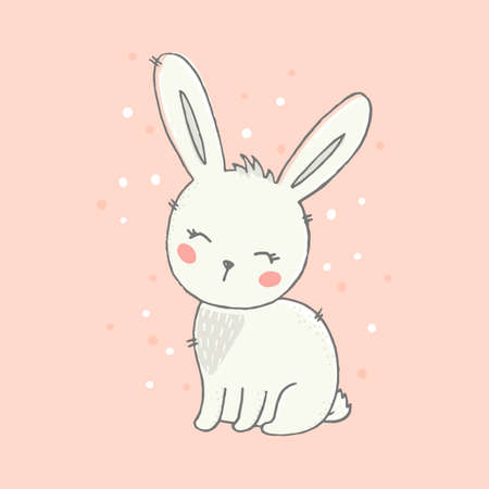 Cute bunny vector illustration. Hand drawn gray bunny on pink background. 向量圖像