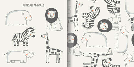 Hand drawn African animals set and seamless pattern. Funny lion, Hippo, giraffe, Zebra and rhinoceros. 向量圖像