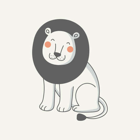 Vector illustration of a funny lion. Concept for children print.