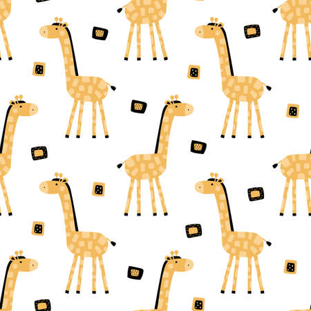Cute cartoon giraffe seamless pattern. Creative kids wallpaper, fabric, textile, apparel. Vector illustration.