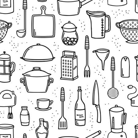 Cooking utensils and kitchen tools seamless doodle background on white.