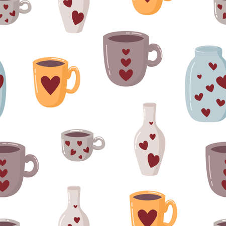 Seamless pattern with mug, cup, bottle, jar and hearts on white. 向量圖像