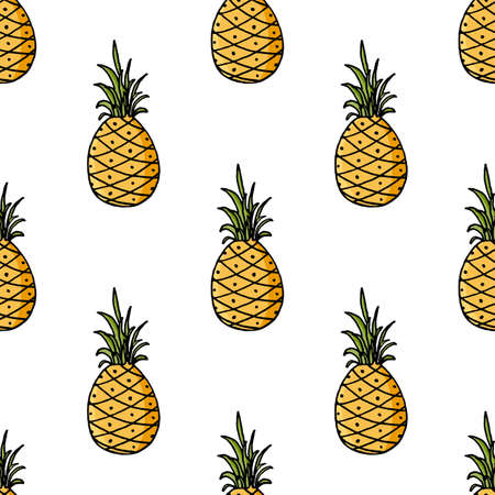 Pineapple seamless pattern in doodle design. Cute tropical fruit on white background.