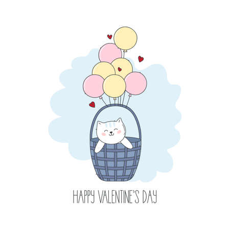 Cute cartoon kitten with red hearts and balloons for Valentine day.