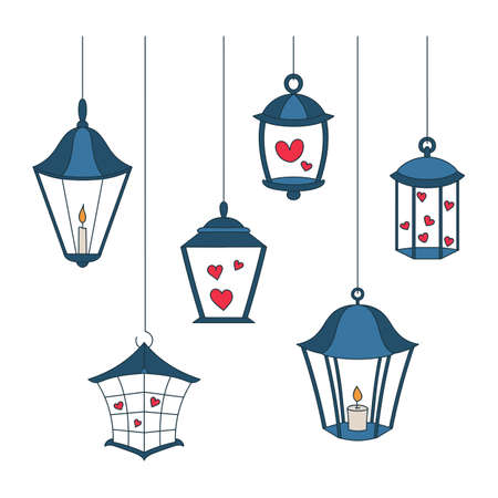 Vector cartoon lanterns set. 向量圖像