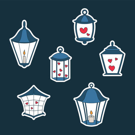 Lantern stickers icon set. Cute cartoon lanterns with candle and hearts. 向量圖像