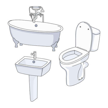 Vector toilet, bath and sink. Collection of bathroom fixtures on a white background. 向量圖像