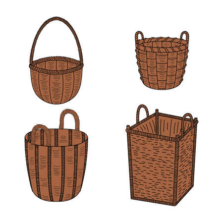 Set of empty wicker baskets. Hand drawn baskets isolated on white background. Vector illustration.
