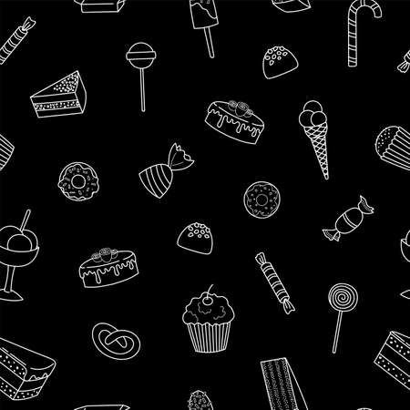 Hand drawn tasty sweets on black.