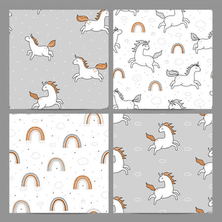 Collection of rainbow unicorn patterns.