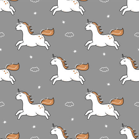 Cute white unicorn seamless pattern. 向量圖像