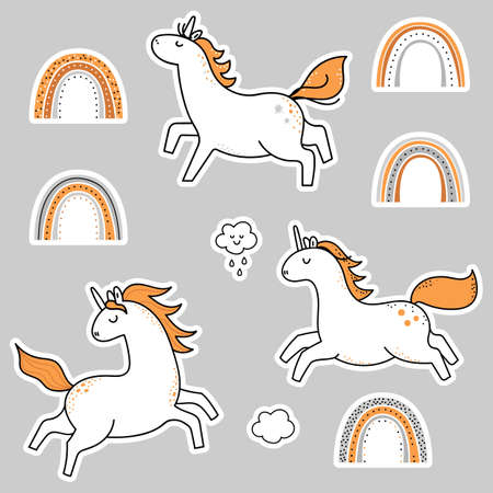Set of rainbow unicorn stickers.