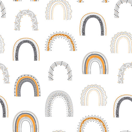 Seamless pattern with hand drawn rainbows on white background. Colorful background for fabric, wallpaper, wrapping paper and decor.