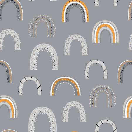 Seamless pattern with hand drawn rainbows on gray background. Colorful background for fabric, wallpaper, wrapping paper and decor.