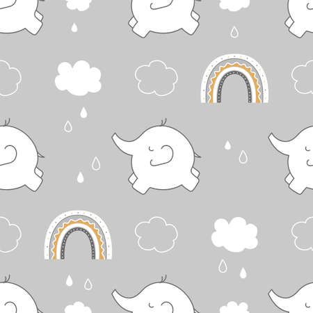 Cute childish seamless pattern with elephant, rainbow and clouds in the sky on gray background.