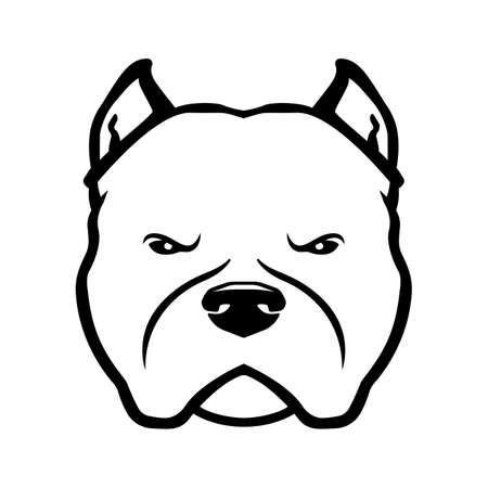 American bully dog logo. American bully dog's head isolated on white background.