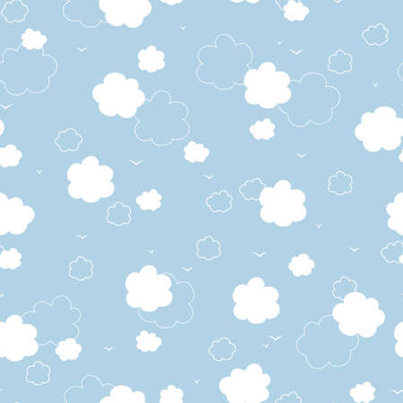 Blue sky with white clouds seamless background. 向量圖像