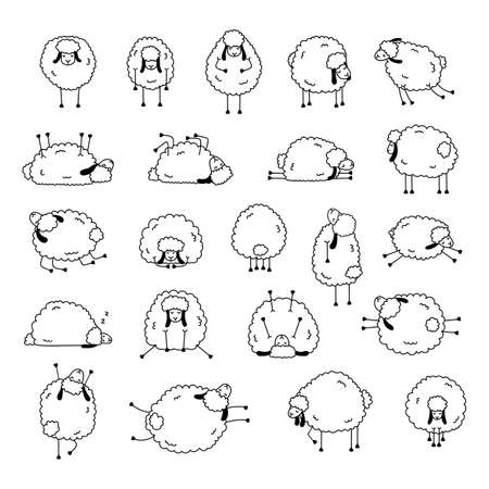 Set of funny sheeps in different poses. Cute white sheeps with black ears.