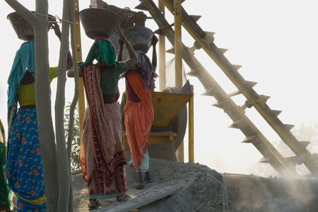 developing country: stone crushers in india, west bengal  Stock Photo